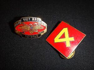 Set Of 2 USMC Lapel Pins: VIETNAM VETERAN + usmc 4th MARINE Division