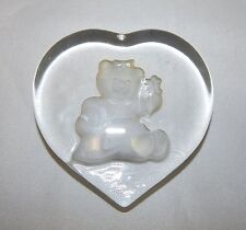Nybro Glass Sweden Girl Teddy Bear Paperweight
