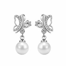 Silver Butterfly Pearl Earrings with Crystals from Swarovski®