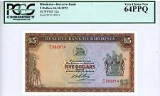 Rhodesia ... P-32a ... 5 Dollars ... 1972 ... *Ch UNC* ... PCGS 64 PPQ