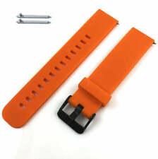 Reloj Banda Correa De Silicona Suave Naranja con Hebilla Negro Pines de liberación rápida #4106