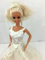 1976 Barbie Doll With Wedding Dress Mattel Twist N Turn Rooted Blonde Hair