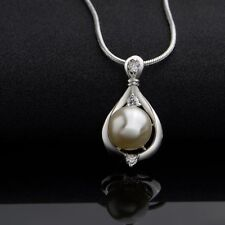 925 Sterling Silver Crystal Pearl Pendant Necklace Chain Women Gift Jewelry New