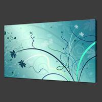 ABSTRACT FLORAL DESIGN AQUA BLUE MODERN BOX CANVAS PRINT WALL ART PICTURE