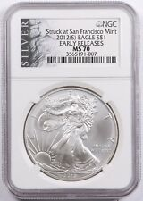 2012-(S) American Silver Eagle Dollar $1 NGC MS70 Early Releases San Francisco