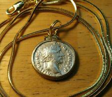 "Authentic Roman Silver Denarius Pendant on a 24"" 18K Gold Filled Square Chain."