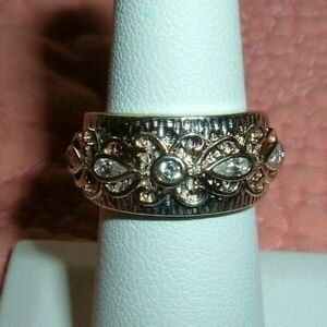 Sterling Silver Black Enamel And Round Cut CZ Band Ring Size 7 1000