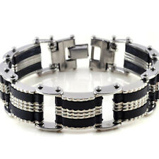 Punk Mens Wide Stainless Steel Rubber Bracelet Wristband Bangle Cuff Jewelry