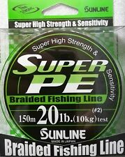 SUNLINE SUPER PE BRAIDED DYNEEMA LINE 150m 20lb #2 COLOR GREEN FLUO JAPAN