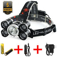 90000LM LED Headlamp 5 Head CREE XM-L T6 18650 Headlight Flashlight Torch Lamp