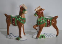 Susan Winget Christmas Sleigh-ride collection Reindeer Candle holders New in Box