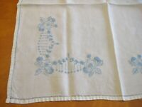 Vintage  blue Embroidered off White Linen Doily Table Topper 27 x 28