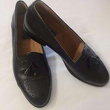 10 1/2 M Bostonian Florentine Shoes Black Italian Leather Cap Toe Brogue Tassels