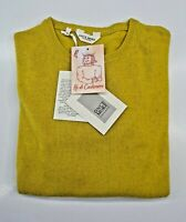PULL TAILLE M SWEATER HOMME UOMO 100% PUR CASHMERE CACHEMIRE ONCE MORE MOUTARDE