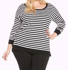 Torrid Striped Heart Patch Elbow Sweater Black Plus Size: 5 aka 28 5X #27180