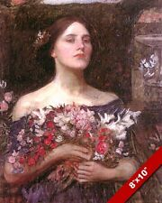 GATHER YE ROSEBUDS WOMAN WITH FLOWERS OIL PAINTING ART REAL CANVAS GICLEEPRINT