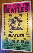 1966 HERE COME THE BEATLES CANDLESTICK PARK HEAVY CARDBOARD ROCK CONCERT POSTER