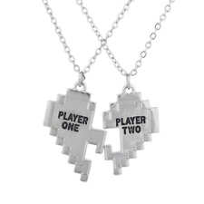 Lux Accessories Silver Tone Player 1 2 Gamer BFF Broken Heart Necklace Set 2 PC