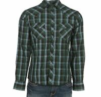 Wrangler Green Black & Turquoise Plaid Snap Up Western Shirt MVG194M