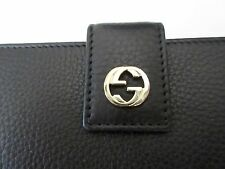 $520 GUCCI WALLET 337335 MISS GG BLACK LEATHER INTERLOCKING LOGO DETAIL AUTH NEW
