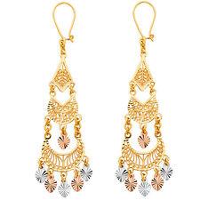 14K Tricolor Gold Filigree Chandelier Earrings EJER883