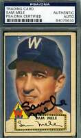 Sam Mele 1952 Topps Psa Dna Coa Autograph Authentic Hand Signed