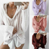 Women's Long Sleeve Oversized Loose Knitted Jumper Outwear Coat Fleece Sweater