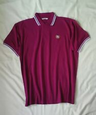 Mod/Fred Perry Style Polo Shirt. Magenta blanc avec bordure. Taille XL