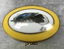 Limoges Trinket Box - Blue Feather on Yellow Box - Hand Painted Signed New 457