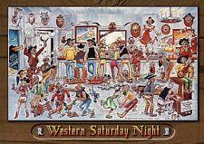 Western Saturday Night, Cowboy Bar in Wild West, Funny Comic Cartoon -- Postcard