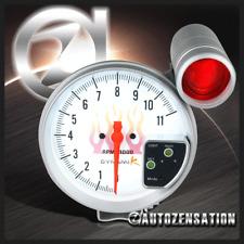 "5"" Inch 11K RPM Tacho Tachometer Gauge Meter White Displace w/ 7 LED Shift Light"