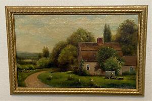 Antique 19th c Signed Oil on Canvas Landscape Countryside Painting - AJ Schmidt