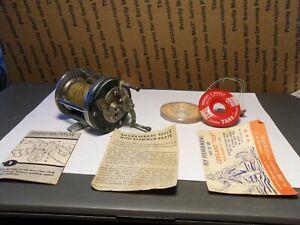 VTG Shakespeare Marhoff 1964 Model GE Baitcasting Reel Nickel Silver W/ Manual