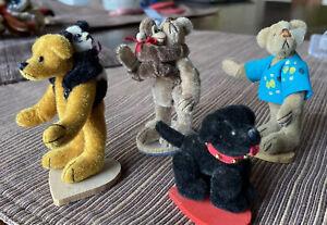 Lot Of 4 Miniature Bears World Of Miniature Bears/Dog