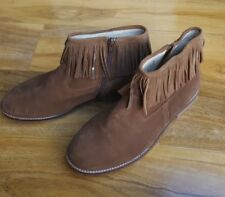Boden Ladies Suede Boots Fringe Casual Chelsea Ankle Flat EU 41 UK 8 BRAND NEW