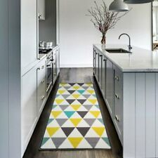 Teal Yellow Gray Geometric Rugs Washable Pet Friendly Anti Skid Hall Runners Rug
