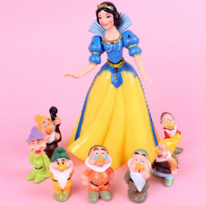 8/1 Snow White and Seven Dwarfs Action Figures Cake Toppers Doll Kids Toy S170