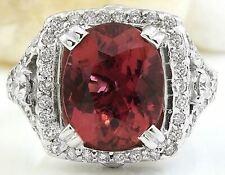 6.10 Carat Natural Tourmaline 14K Solid White Gold Diamond Ring