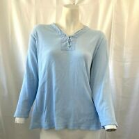 Talbots Womens Light Blue Ribbed Pullover Shirt Size Extra Large