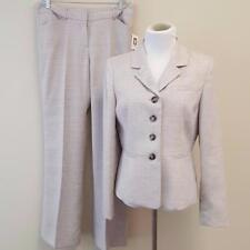 Anne Klein 2pc Pant Suit Womens sz 10 Lined Blazer Jacket Taupe White 34x32 NWT
