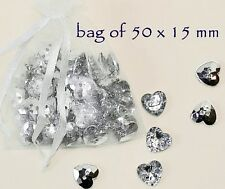 Heart Sparkly Shiny 15 mm Buttons 50 Vintage Style Rhinestone Sew Craft Gift UK