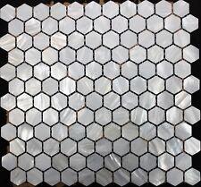 HEXAGON Mother of Pearl White Mosaic Back Splash Wall Tile White Tiles Bar Bath