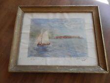 SUCHANEK  Aquarelle Paysage marin bord de mer  Bateau DATE 1948 HELGOLONA