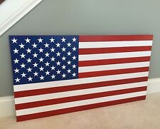 New 36 Inch Xl Handcrafted Wood American Flag. Original Colors. 100% Made in Usa