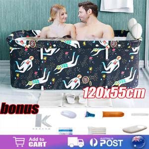 Foldable Portable Bathtub Water Tub Folding PVC Adult Spa Bath Bucket 120*55cm