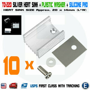 10pcs TO-220 Silver Aluminum Cooling Heat Sink Silicone Pad washer Radiator