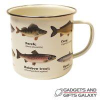 Fish Enamel Mug Ecologie Nature Fishing Trout Carp Perch Sprat Novelty Gift