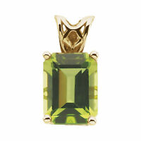 Genuine Peridot Emerld Cut Gemstone Solitaire Pendant in Solid 14K. Yellow Gold