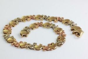 ESTATE 14K GOLD LUCKY ELEPHANTS BRACELET TRI COLOR 7.5 14KARAT ROSE GOLD