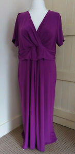 JOANNA HOPE Dress Purple/Pink RUCHED WAIST wrap top short sleeve Occasion UK24